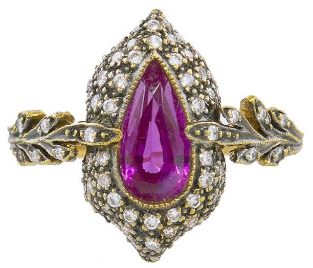 Cathy Waterman Pink Sapphire Blackened Double Leaf Arabesque Ring