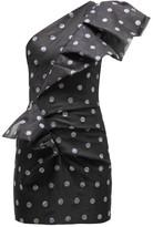 Alexandre Vauthier Crystal Polka-dot Asymmetric Silk-organza Dress - Womens - Black Multi