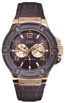 GUESS W0040G3 Rigor - Wristwatch men's, Leather, Band Colour: chocolate