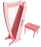 The Well Appointed House Schoenhut 15 String Harp with Bench in Pink for Kids
