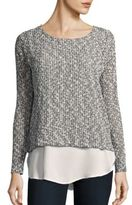 Bobeau Long Sleeve Sweater-Knit Top