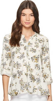 Lucky Brand Women's Printed Peplum Button UP TOP