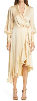 Zimmermann Long Sleeve Silk Satin Wrap Dress