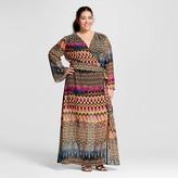 Women's Plus Size Bell Sleeve Printed Maxi Dress - Sami & Dani