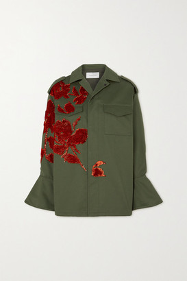 Valentino Sequin-embellished Appliqued Cotton-gabardine Jacket - Army green