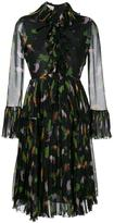 Gucci toucan print ruffle dress - women - Silk/Cotton/Spandex/Elastane/Viscose - 40