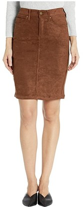 Liverpool Pencil Skirt in a Stretch Faux Suede (Chocolate Brown) Women's Skirt
