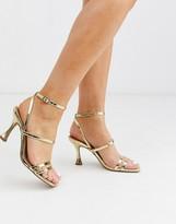 Asos Design DESIGN Hailee mid-heeled sandals in gold