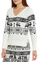 Betsey Johnson Reindeer & Heart Fair Isle Cozy Lounge Sweater