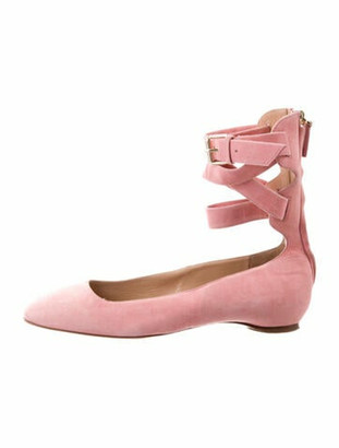Valentino Suede Square-Toe Flats Pink