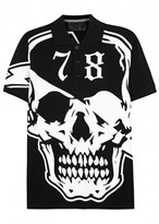 Philipp Plein Hellish Pirate Printed Piqué Cotton Polo Shirt