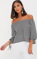 PrettyLittleThing Black Dogtooth Bardot Blouse