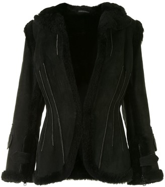 Yohji Yamamoto Pre Owned Shearling Trimming Slim-Fit Jacket