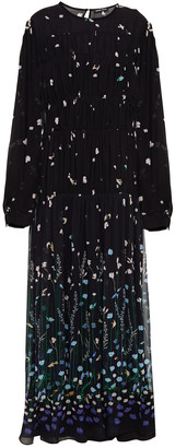 Markus Lupfer Alma Gathered Printed Georgette Midi Dress