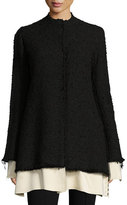 The Row Schrader Contrast-Trim Boucle Jacket, Black/White