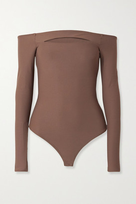 Alix Vesey Off-the-shoulder Cutout Stretch-jersey Thong Bodysuit - Mushroom