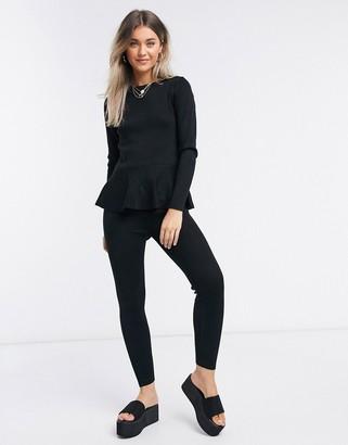 Qed London lattice back peplum top and leggings set in black