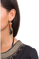 Gas Bijoux Serti Plume 24kt Gold Plated Earring with Feather