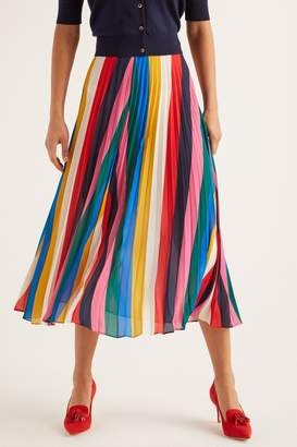 Boden Womens Red Fairfax Pleated Skirt - Red
