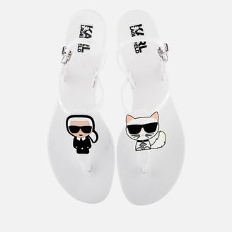 Karl Lagerfeld Paris Women's Jelly Ikonic Sling Sandals - White - UK 7 - White
