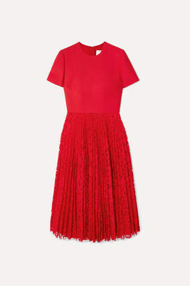 Valentino Pleated Lace And Crepe Midi Dress - Red