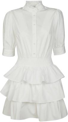 Michael Kors Triple Layered Skirt Fitted Waist Buttoned Dress