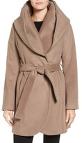 T Tahari Women's Wool Blend Belted Wrap Coat