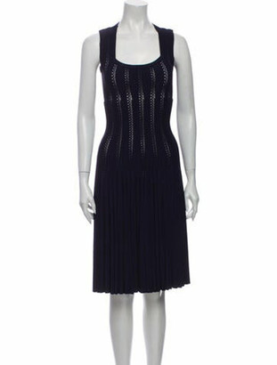 Alaia Scoop Neck Midi Length Dress Blue
