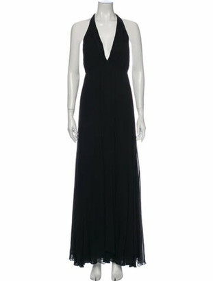 Alice + Olivia Silk Long Dress Black
