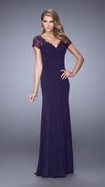 La Femme 21690 Ruched V-Neck Sheath Dress