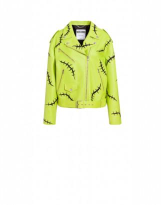 Moschino Scars Nappa Biker Woman Green Size 38 It - (4 Us)