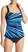 Reebok Depth Defy Striped Tankini Top