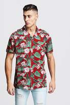 BoohooMAN Leaf Print Short Sleeve Revere Viscose Shirt