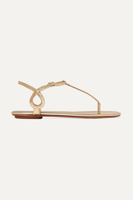 Aquazzura Almost Bare Metallic Leather Sandals - Gold