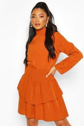 boohoo Shirred High Neck Drop Hem Mini Dress