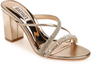 Badgley Mischka Zoraya Metallic Embellished Slide Sandals