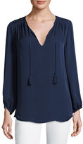 Joie Odelette Split-Neck Silk Top, Blue