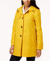 London Fog Petite Hooded A-Line Raincoat