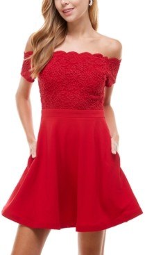 City Studios Juniors' Off-The-Shoulder Glitter-Lace Fit & Flare Dress