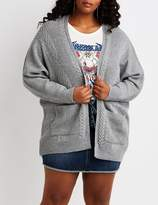 Charlotte Russe Plus Size Mixed Knit Open-Front Cardigan