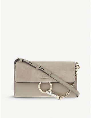 Chloé Faye leather & suede clutch