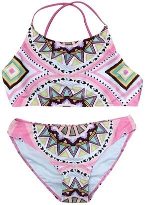 Deloito Women's Push-up Padded Bra Two Piece Swimsuit Sexy Bohemia Print Bikini Set Swimwear (Pink L)