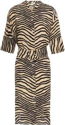 By Malene Birger Belted Zebra-print Crepe De Chine Dress