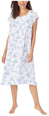 Eileen West Cotton Modal Pointelle Knit Cap Sleeve Waltz Nightgown (White Ground Blue Mono Floral) Women's Clothing