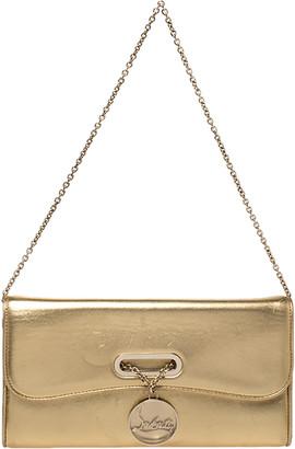 Christian Louboutin Metallic Gold Leather Riviera Chain Clutch
