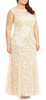 Alex Evenings Plus Cap-Sleeve Embroidered Gown