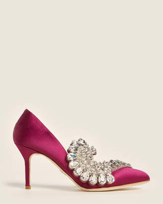 Paula Cademartori Burgundy Iris Embellished dOrsay Satin Pumps