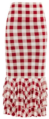 Norma Kamali Gingham Stretch-jersey Pencil Skirt - Red