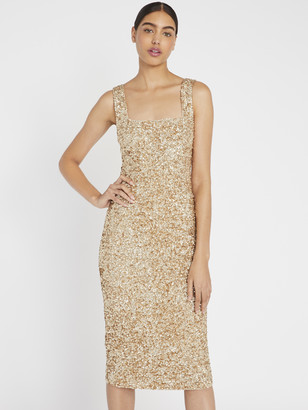 Alice + Olivia Helen Sequin Fitted Midi Dress