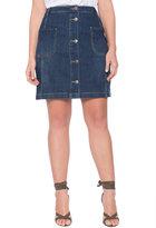 ELOQUII Plus Size Button Front Denim Skirt